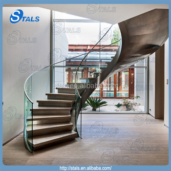 Affordable New Design Curved Staircase Glass Railing Round Stairs With Round  Staircase Railing.