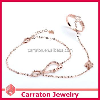 Newest Design 925 Sterling Silver Rose Gold Slave Bracelet With Finger Ring