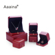 Jewelry Gift Boxes Leather Jewelry Double Ring Box Red with Foil Line