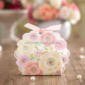 Color Floral Laser Cut Favor Box/wedding candy box /gift box CB6013 Match invitation card CW6013