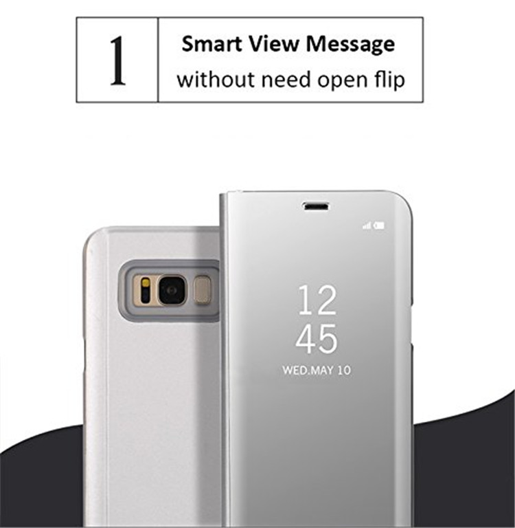 Wholesale clear view cell phone back case for samsung galaxy s8 case leather