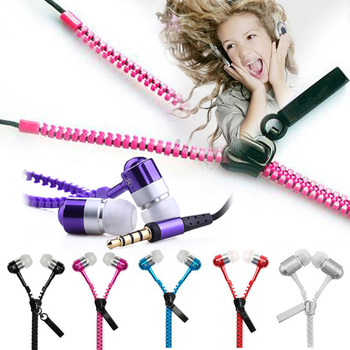 3.5mm zipper earphone in-ear wired headphone with microphone headset for phone zipper head set