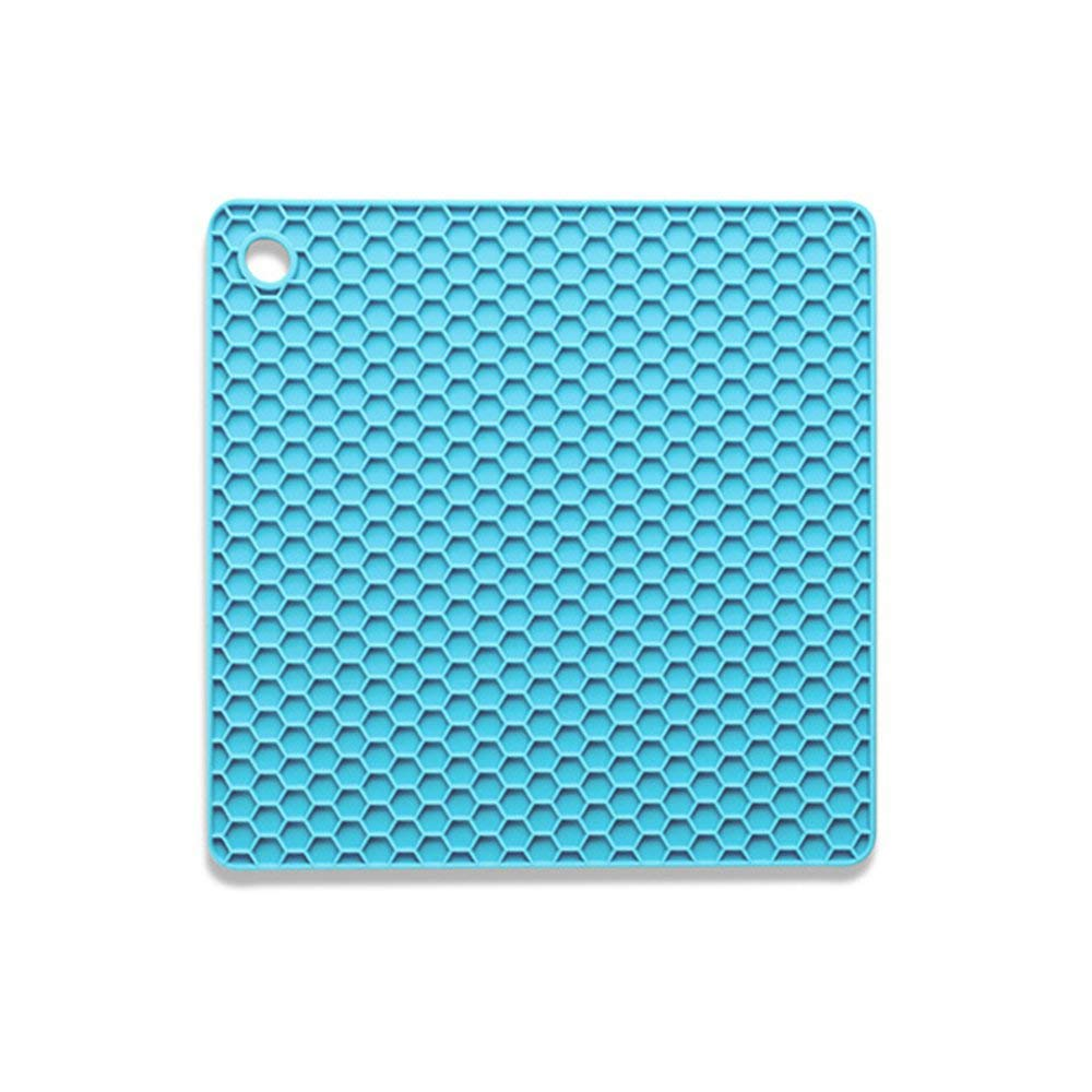 HOBOYER Silicone Table Mats Soft Non-Slip Honeycomb Grid Waterproof Heat Resistant Liner Oven Pad for Kids Foods Mats Free FDA[7272inch] (Sky-blue)