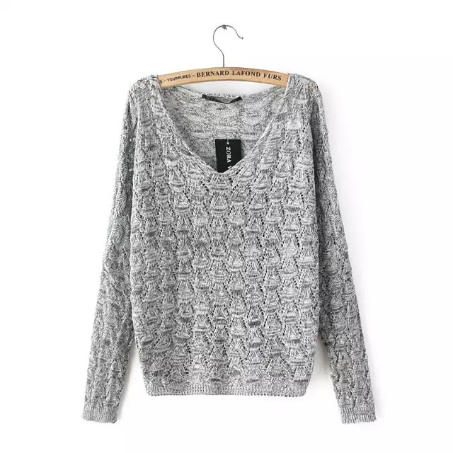 Fall 2015 Europe Women's Sweater  Bat Sleeve  loose  Casual v-neck Pullover Sweaters 6266