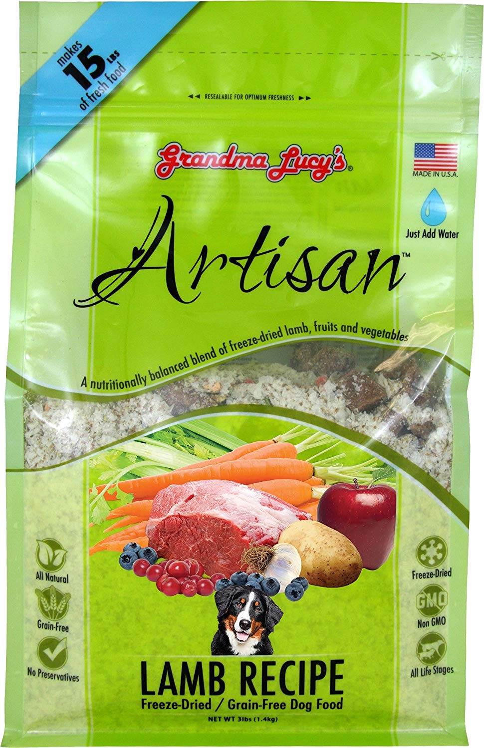 Grandma Lucy's Freeze-Dried Grain-Free Pet Food: Artisan Lamb 3lbs