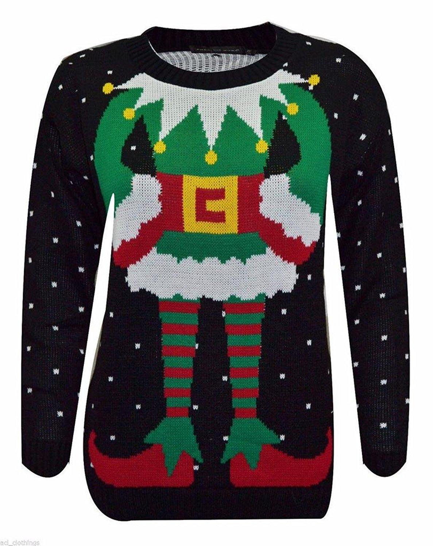 Rimi Hanger Womens Black Elf Body TOWIE Sam Christmas Xmas Jumper Sweater (S, M, L)