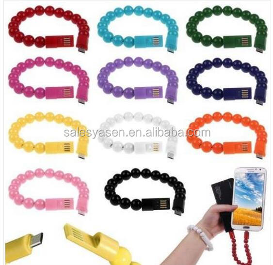 24cm Beads style data line Magnetic Wearable bracelet usb cable Micro 5-Pin Charging Data Cable for Andoid