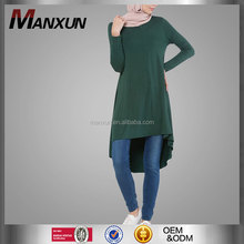 New Design Islamic Clothing Tunic Arabic Abaya Dubai Muslim Cotton Blouse Muslimah Womens Tops Fashion Nice Blouse Green Tunic