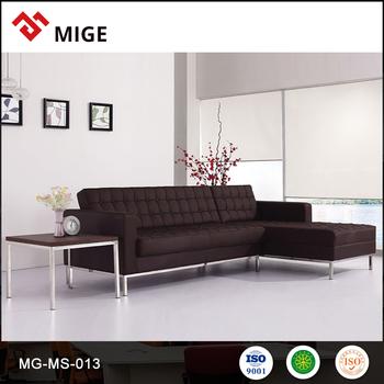 leather l shaped sofa set steel frame