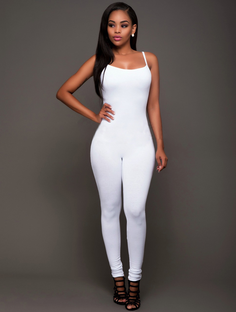 bb584d414dee 2019 Wholesale Casual Sexy Jumpsuits Women Black White Skinny ...