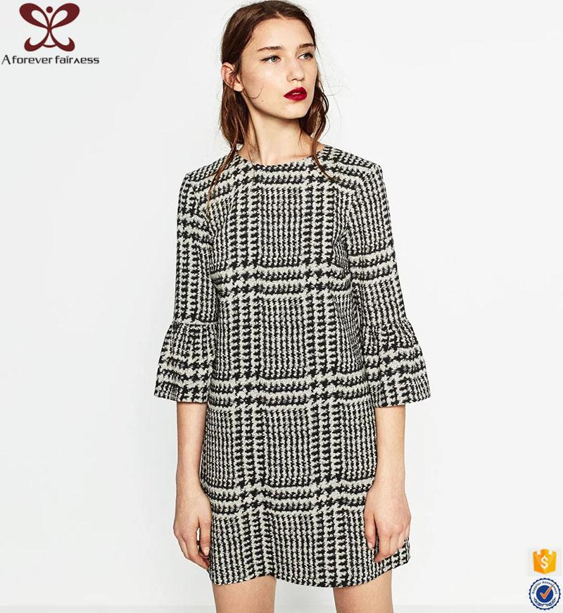 nuevo modelo pettigirl vestido negro grid otoo oficina vestido para las seoras manga gaun vestido
