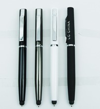 STYLISH Flat metal twist design pen with touch stylus tip