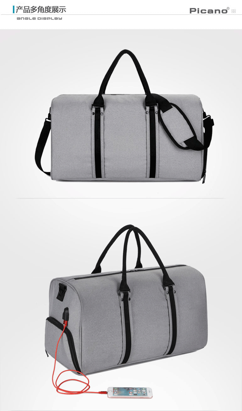 Wholesale custom mens waterproof travel duffel bag and accept printing in the finished products