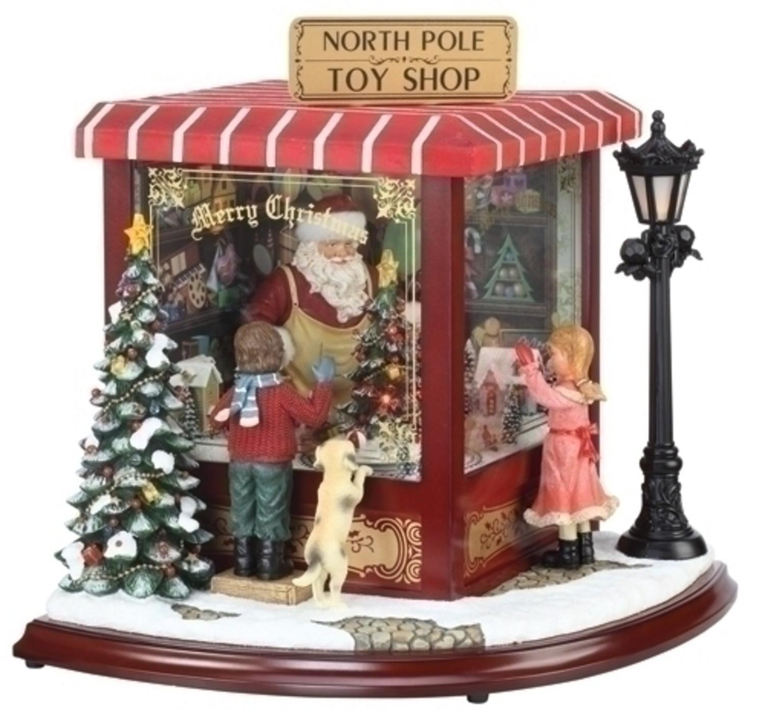 Roman Amusements LED Lighted Animated & Musical North Pole Toy Shop Christmas Decor