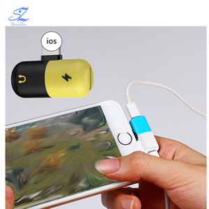 2 in 1 pill shape Charging Audio Earphone Convertor Charger Splitter Headphone USB type-C Adapter for iPhone 7 X android phone