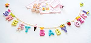 """Baby Banner Girl """"SWEET BABY GIRL"""" Felt Sheest Fabric letters Bunting Garland Hanging Banner Baby Banner For Baby Shower Children's Party Supplies Photo Props"""
