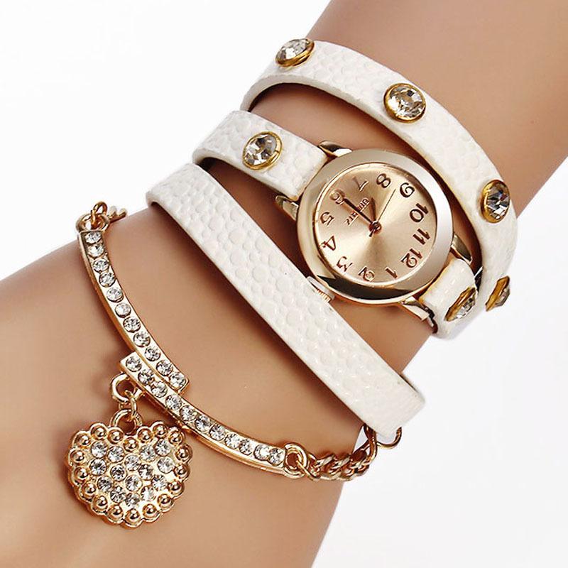 Elegantní dámské hodinky s ozdobným páskem a přívěškem srdíčka z Aliexpress f34584938be