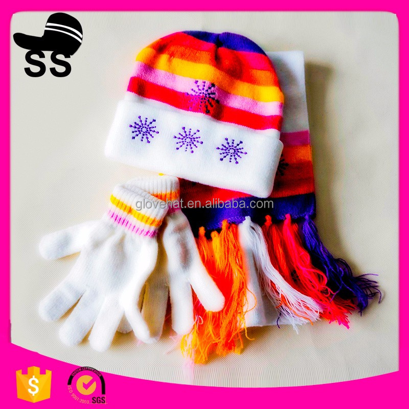 2016 New Style New Design Funny Kids Beanie knit Hat Scarf and Gloves Sets