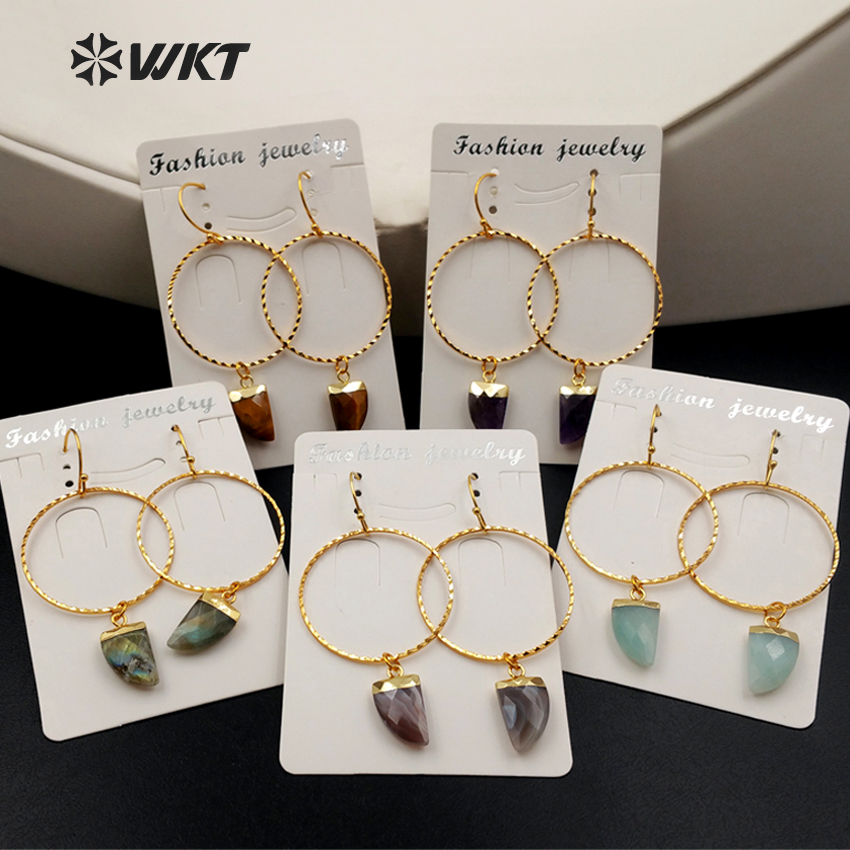 WT-E390 WKT wholesale new fashion unique lasted 24k real gold plated hoop faceted multi horn gemstone dangle earrings