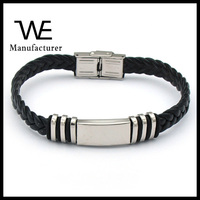 Stainless Steel Blank Watch Clasp Leather Bangle Bracelet for Man