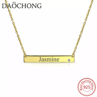 gold plated 925 Sterling Silver named engraved tag necklace Shiny Bar CZ Layering Necklace