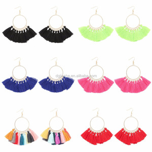 Simple circle earrings silk thread earrings with colorful tassel for women 8 colors to choose
