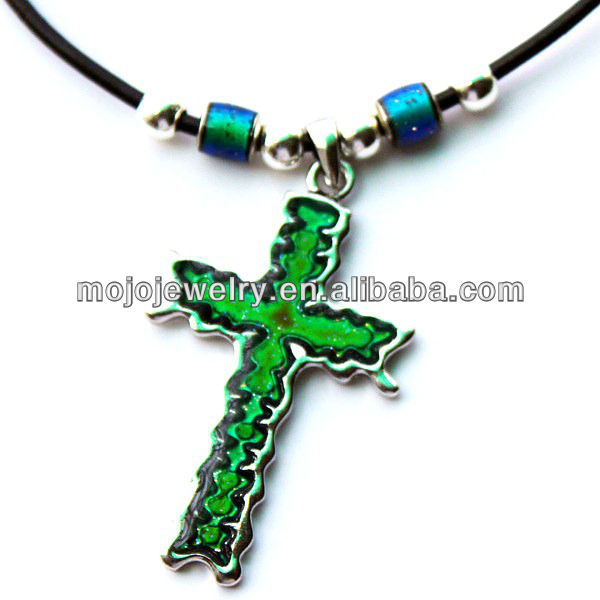 Pendant Necklace with Multi-color Changing Function Prayer Gothic Mood Cross Jewelry