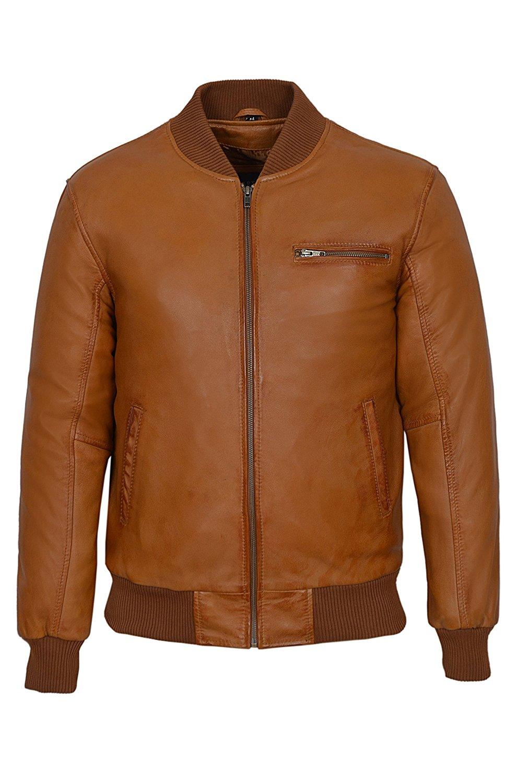 '70'S RETRO BOMBER' Men's 275 Tan Cool Classic Soft Italian Nappa Leather Jacket