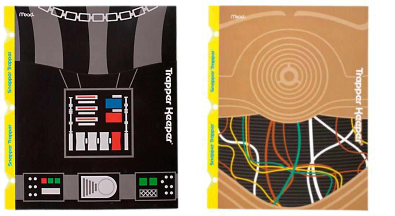 Mead Star Wars Trapper Keeper Snapper Trapper 2 Pocket & Prong Portfolio Folders Darth Vader C-3PO Lot of 2 Bundle