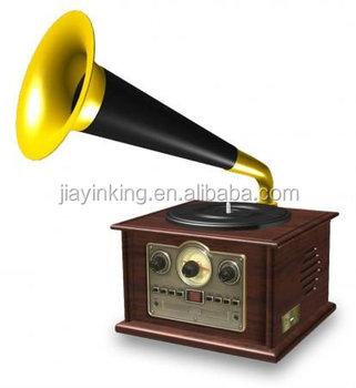 Nostalgic Classic Antique Retro Horn Turntables CD Radio Wooden Turntable  Record Player