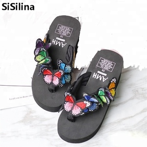Summer Sweet Women High Heel Flip Flops Slippers Wedge Platform Beach Home Flat Slipper Female Sandals Black/Beige/Pink/purple