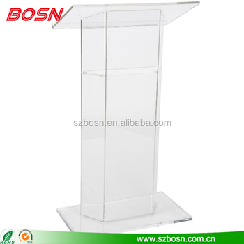 Modern Clear Acrylic Lecterns for Floor with Optional Shelf