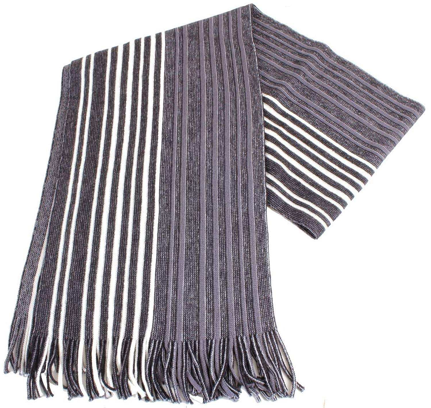 Bassin and Brown Mens Lawton Striped Wool Scarf - Black/White/Grey