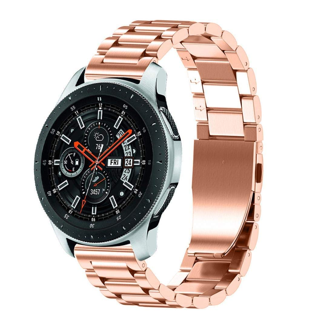 Galaxy Watch 46mm Bands,AutumnFall Luxury Stainless Steel Wristband Replacement Strap with Adjust Repair Tool for Samsung Galaxy Watch 46mm (Rose Gold)