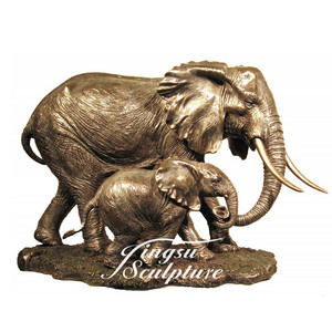 Directly Factory brass mother elephant with baby statue
