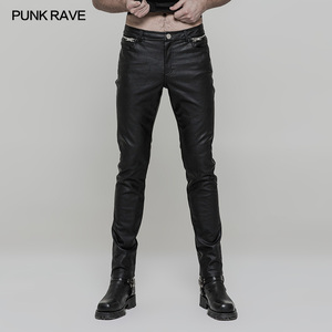 OK-321 Heavy metal punk rocker straight leg men slim leather trousers