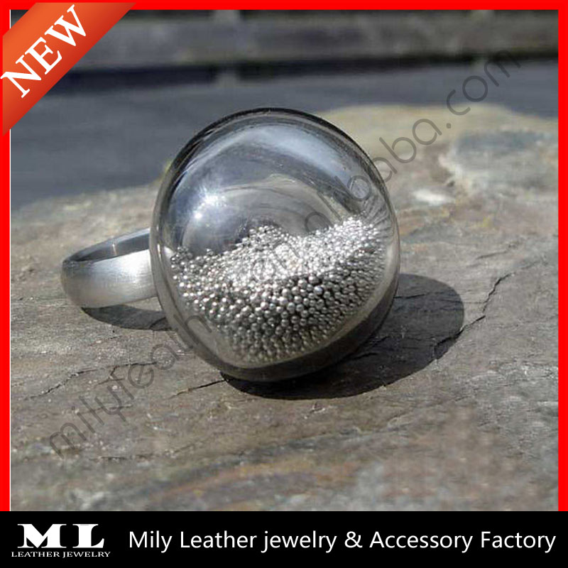 2014 DIY hollow glass ring top with Small Silver Beads Ring GHBR-018