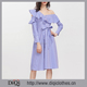 New designer guangdong clothes supplier wholesale women Blue Striped Asymmetric Ruffle Off The Shoulder Belted Shirt Dresses