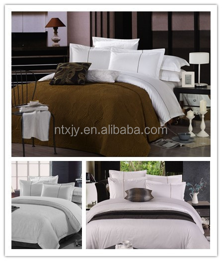 Classic Cotton Hotel Bed Sheet Set Fitted Sheet Flat Sheet With PVC Bag