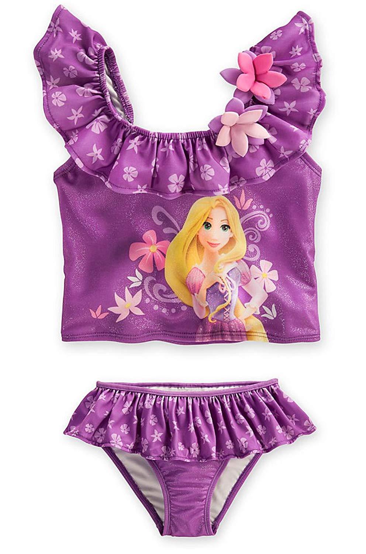 c04ffbc667 Disney Store Tangled Princess Rapunzel Swimsuit  Purple 2-Piece Size Large  10