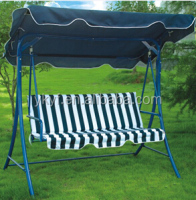 Good quality and hot promotion 3 seat swing set with cushion and canopy