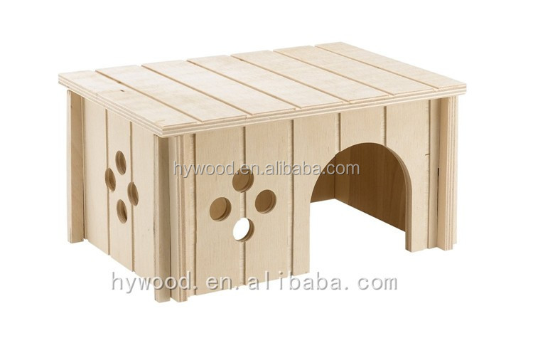 New Disign Manufacturer cheap unfinished natural plywood cottage hutch shaped wooden pet house for rabbit hamster gerbil pet