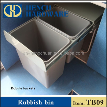 Indoor kitchen cabinet hardware recycling plastic waste bin