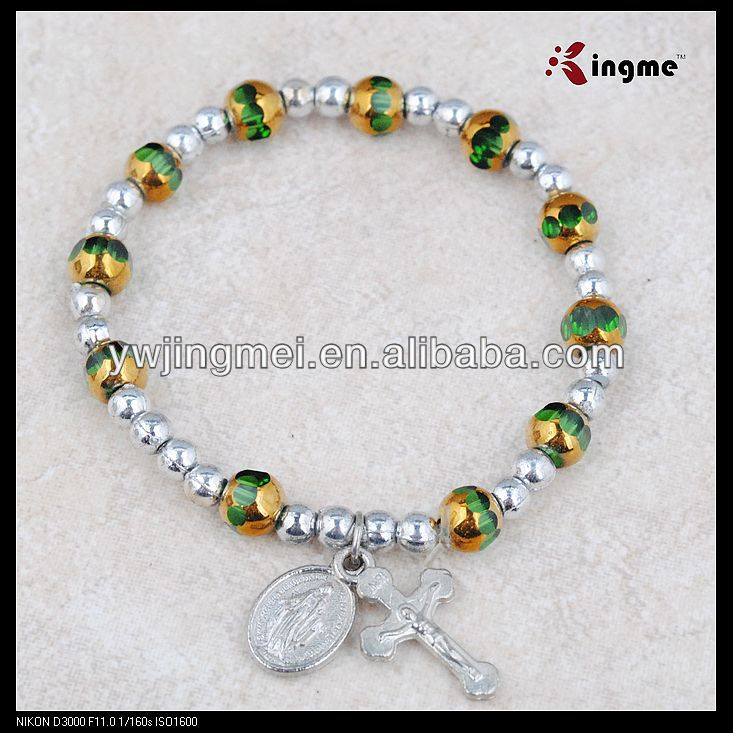 6mm green faceed glass rosary bracelet on elastic