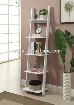 Mdf Narrow Bookshelf Decorative Ladders In Living Room