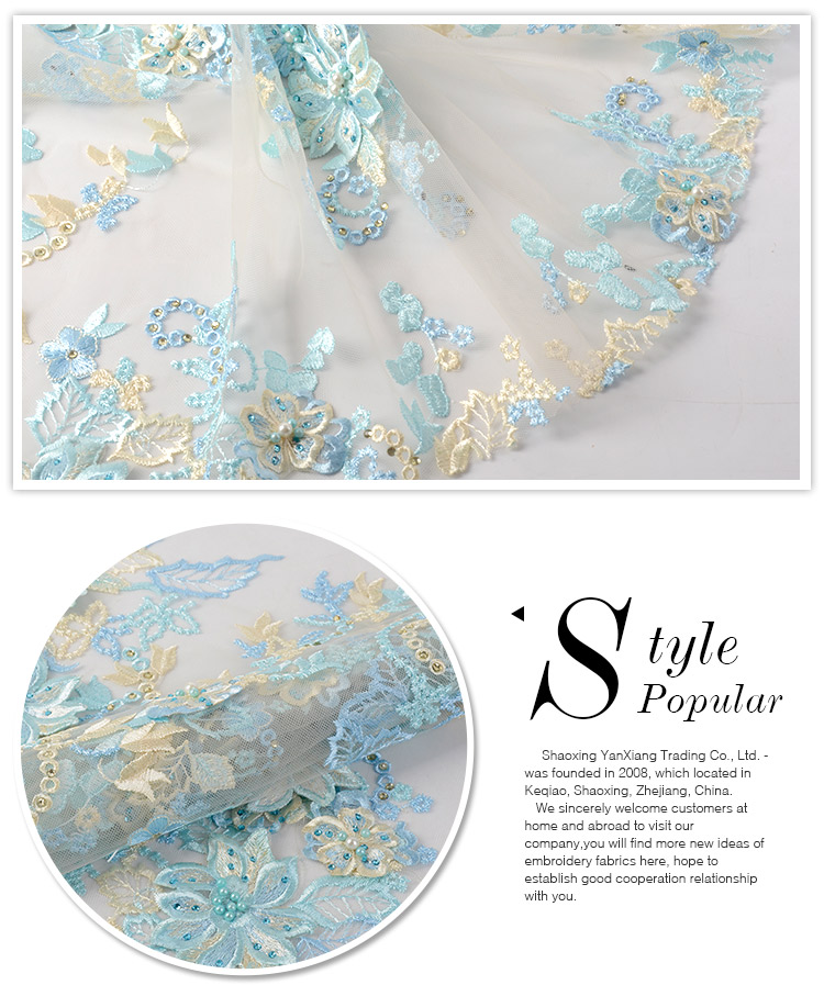 Newest fashionable luxury mesh 3d flower beaded handmade embroidery fabric