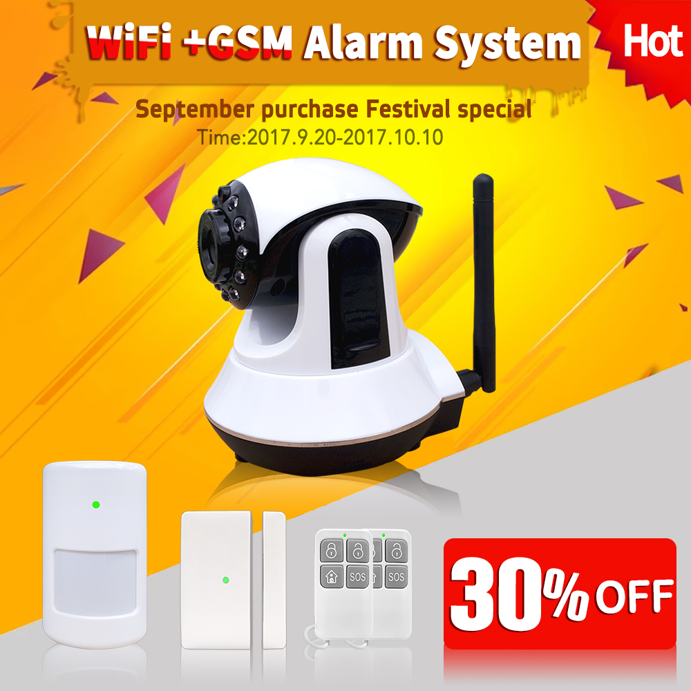 Phone ipad Tablet App support viewing GSM 3G+WIFI GPRS Camera Alarm Security System For home office 88Wireless night infrared