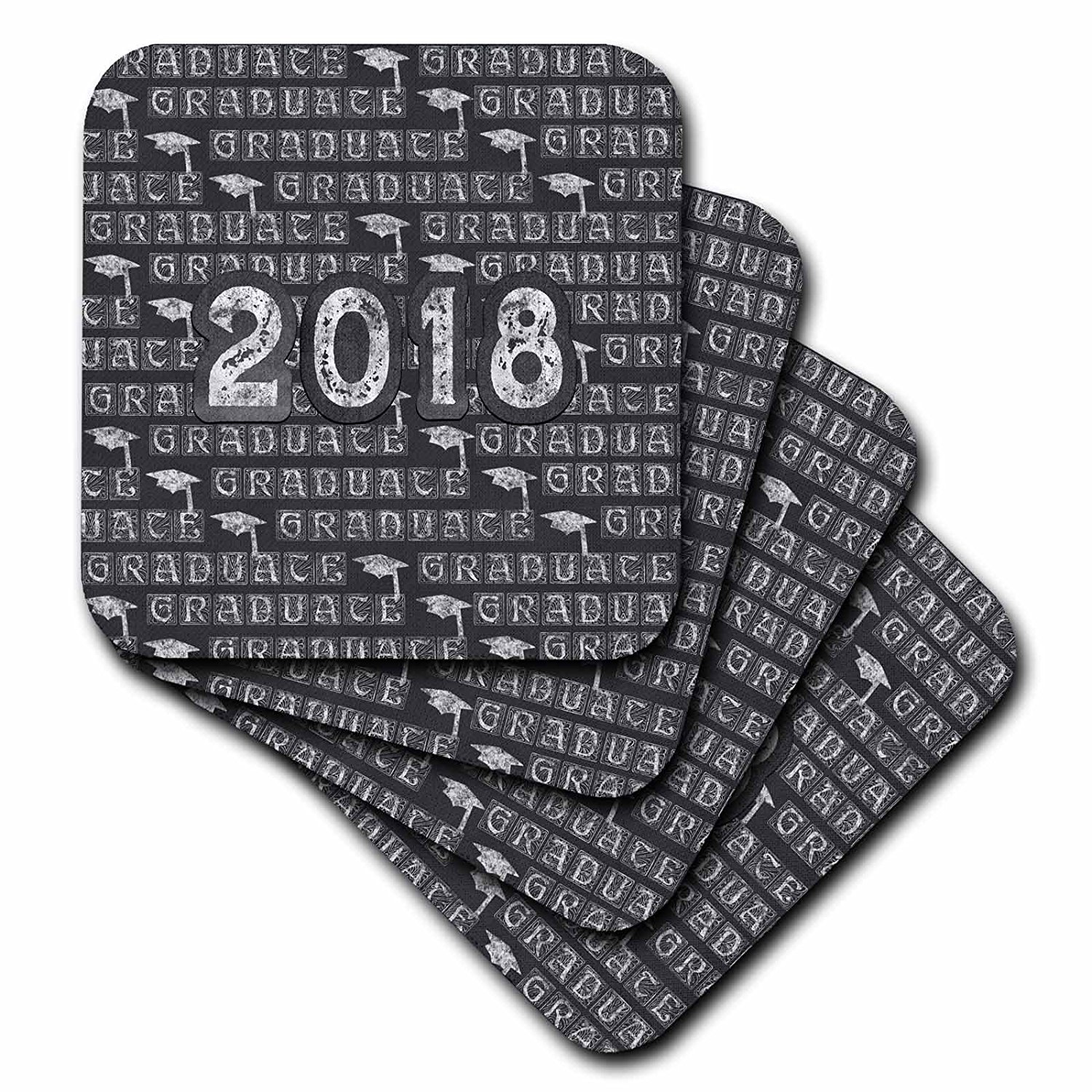 3dRose Beverly Turner Graduation Design - 2018 and Graduation Caps Caulk board Look, White and Gray - set of 4 Ceramic Tile Coasters (cst_276154_3)