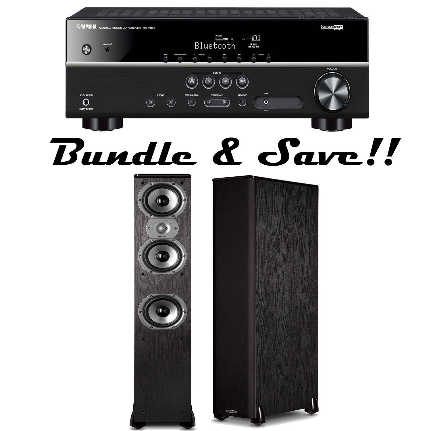 Yamaha RX-V379BL 5.1 Channel Network A/V Bluetooth Receiver Plus A Pair of Polk Audio TSi 400 Floorstanding Loudspeakers