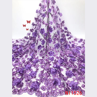 Latest Purple Sequin Net 3d Bridal Red Beaded Pink Lace Fabric For Nigerian Wedding